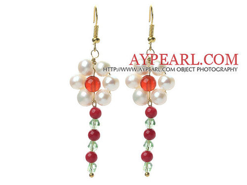 White Freshwater Pearl and Red Coral and Carnelian and Green Crystal Dangle Earrings