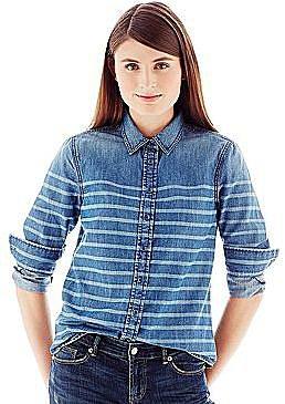 Joe FreshTM Stripe-Dyed Denim Shirt