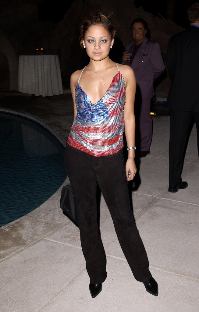 Nicole Richie showed off her patriotic side in a slinky American flag print top at a Las Vegas club opening in November 2001.