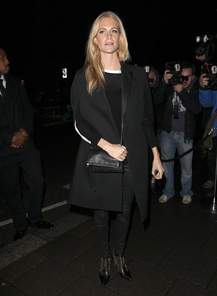 Poppy Delevingne's all-black ensemble made a sleek entrance at the Harper's Bazaar London Fashion Week party.