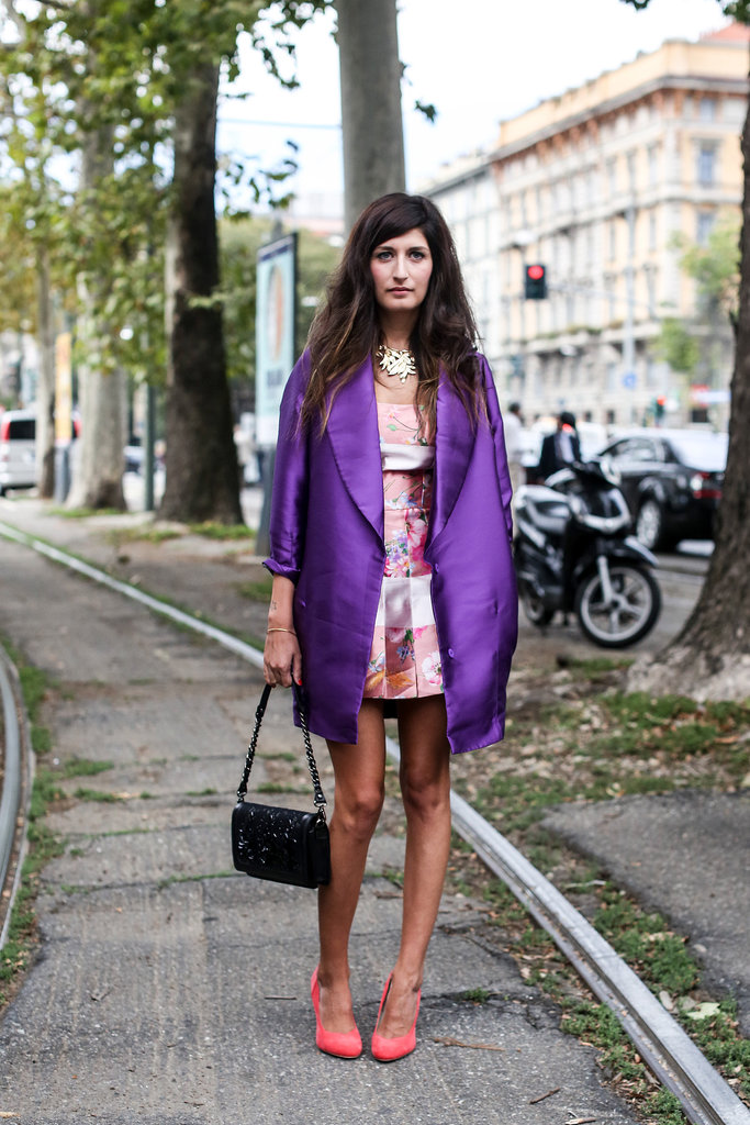 A color-rich coat made the look.