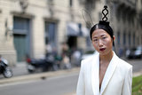 Because wearing delicate rabbit ears at Fashion Week is totally chic.
