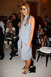 Anna Dello Russo was minimalist in gray in the front row at Milan Fashion Week.