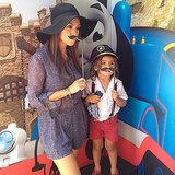 Mason Disick met his favorite blue train along with his mom, Kourtney Kardashian. Source: Instagram user kourtneykardash