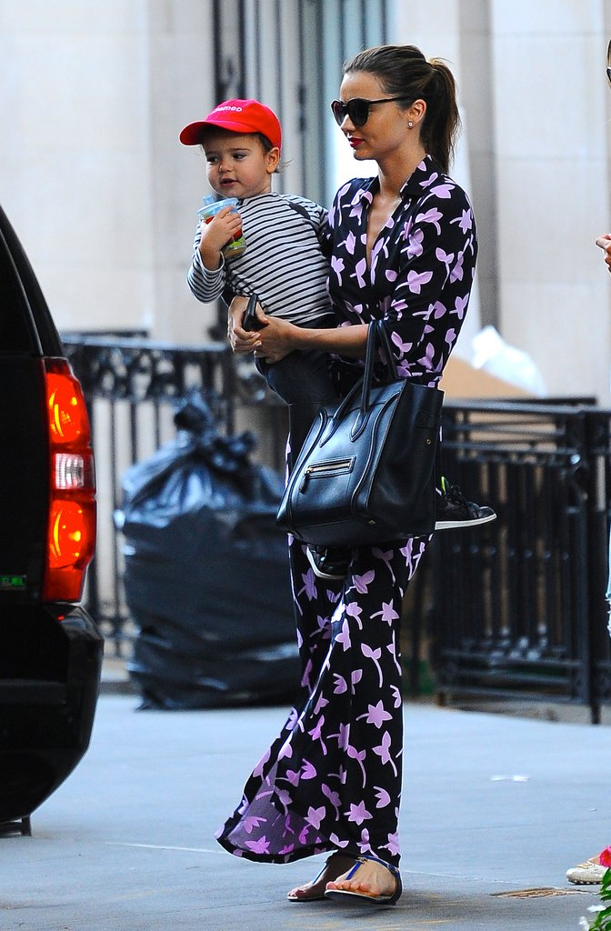 Miranda Kerr got print happy in a Diane von Furstenberg maxi dress and her black Céline bag in NYC.