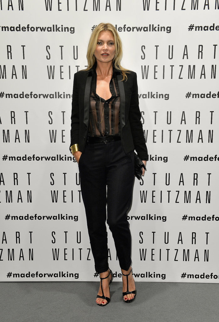 Kate Moss cohosted the Stuart Weitzman store opening event in Milan.