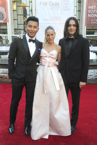 Sarah Jessica Parker joined her dress's designers Prabal Gurung and Olivier Theyskens at the New York City Ballet gala.