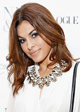 Eva Mendes celebrated the launch of her collection of clothing at New York & Company earlier this week with a voluminous blowout complete with soft waves. She paired the bombshell hair with a navy smoky eye and nude lips.