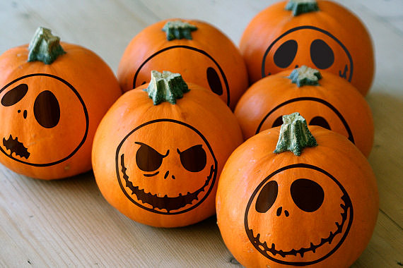 Forget the mess of carving and add these decals ($12) to your pumpkins instead.
