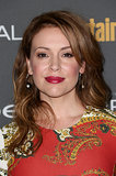 Red lips and brunette waves for Alyssa Milano at Entertainment Weekly's pre-Emmys party.