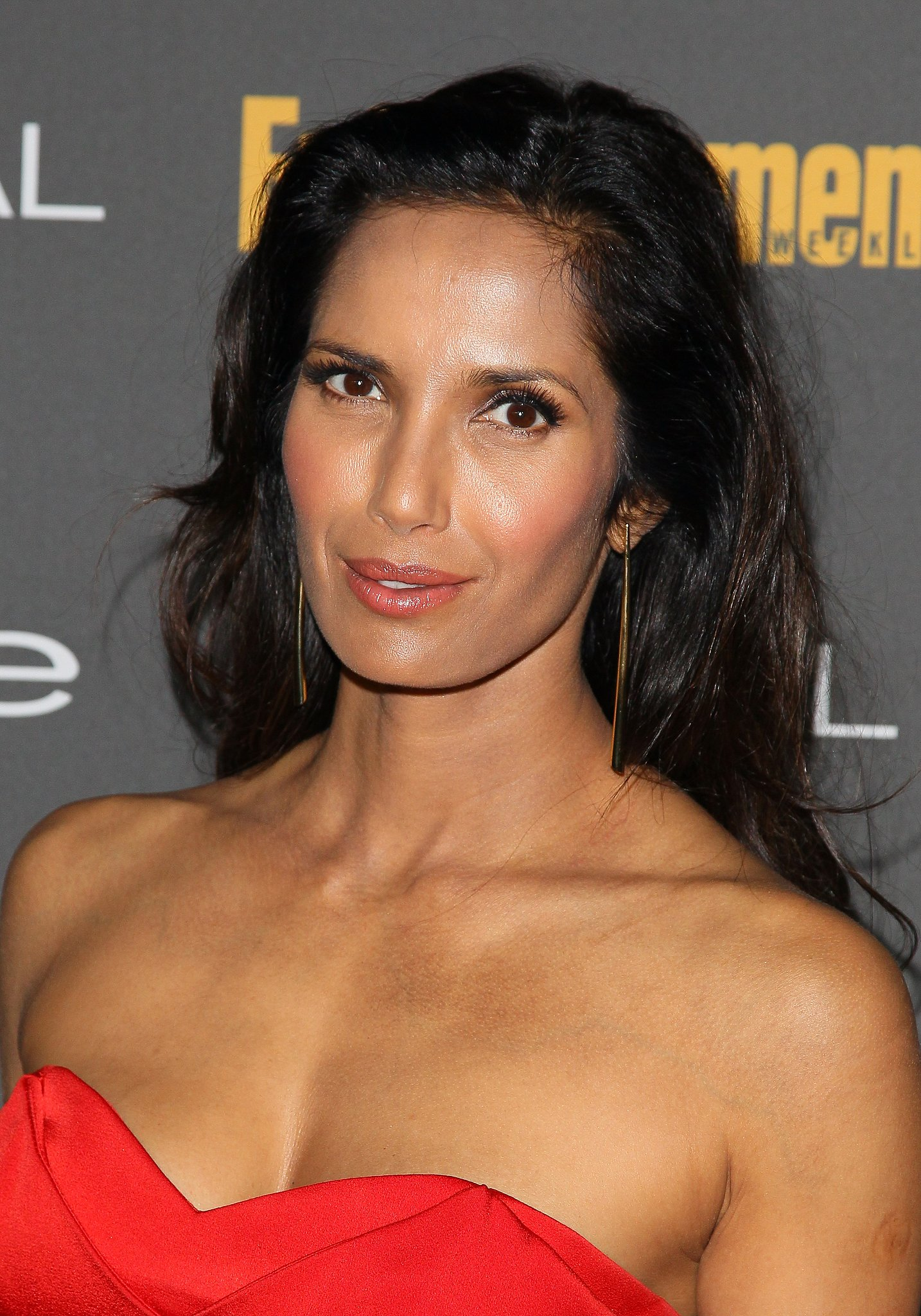 Strategic contouring and mussy hair made for a gorgeous look on Padma Lakshmi at Entertainment Weekly's pre-Emmys party.