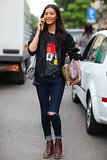 Liu Wen reminds us just how good a t-shirt and jeans can look.