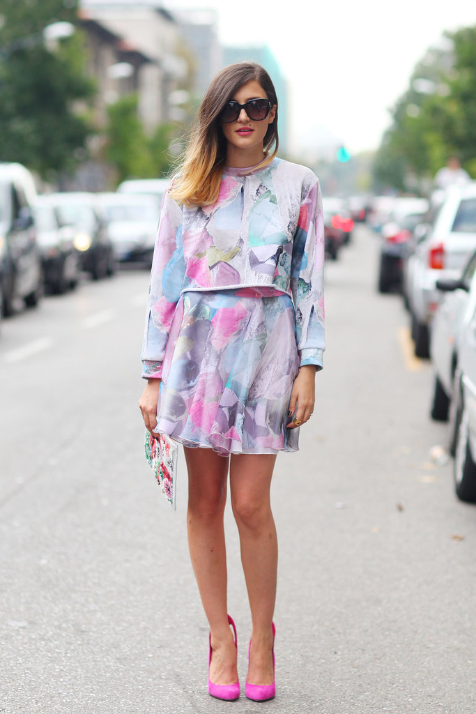 Sweet pastel shades make for a pretty look, especially when finished off with bright pink pumps.