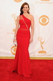 Carla Gugino picked a sexy red dress with a slit running from shoulder to waist. For a bag, she picked a small Judith Leiber Couture clutch.