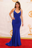 Tina Fey walked the red carpet at the 2013 Emmy Awards.