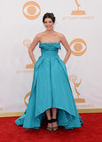 Jessica Paré donned a blue dress for the Emmys.