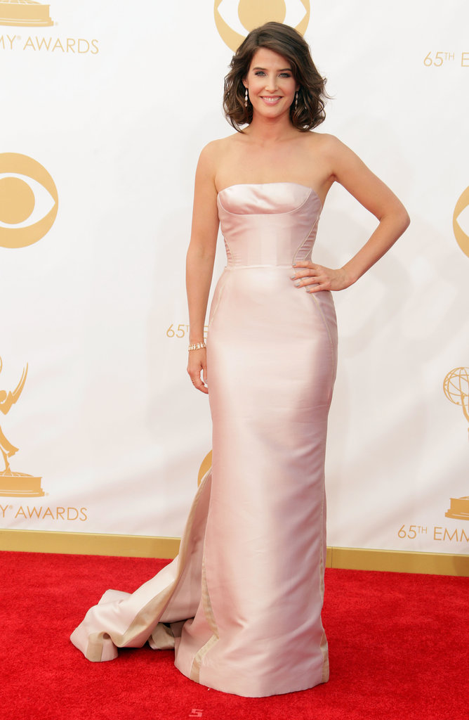 A pearly pink strapless J. Mendel dress was sweetly feminine on Cobie Smulders.