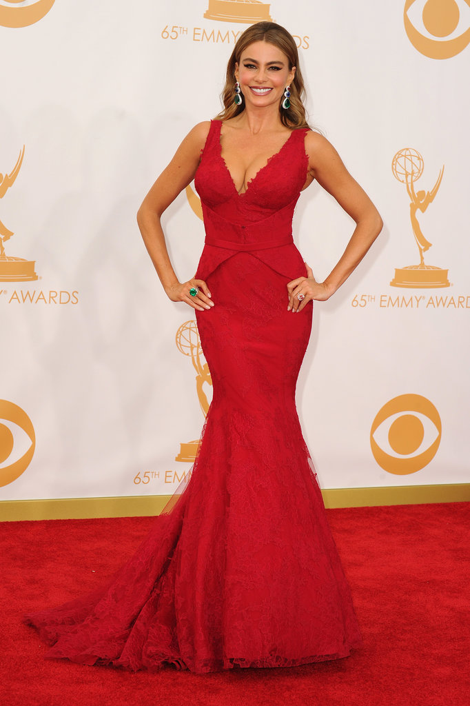 Sofia Vergara walked the red carpet at the 2013 Emmy Awards.