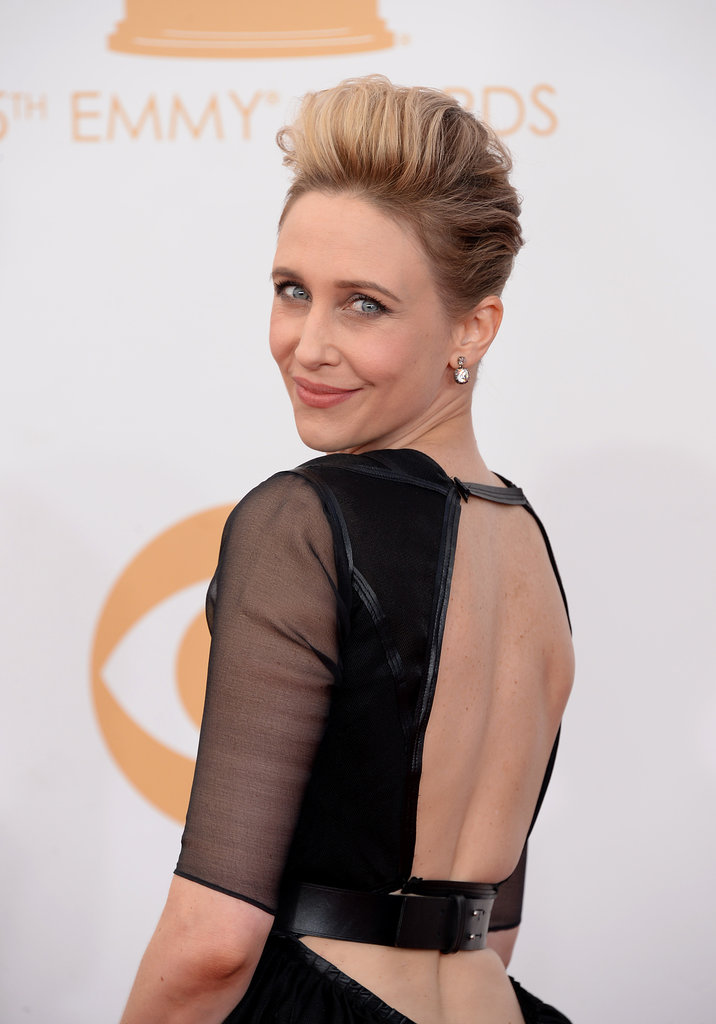 Vera Farmiga wore a James Dean-esque pompadour that played gorgeously with her edgy black frock.