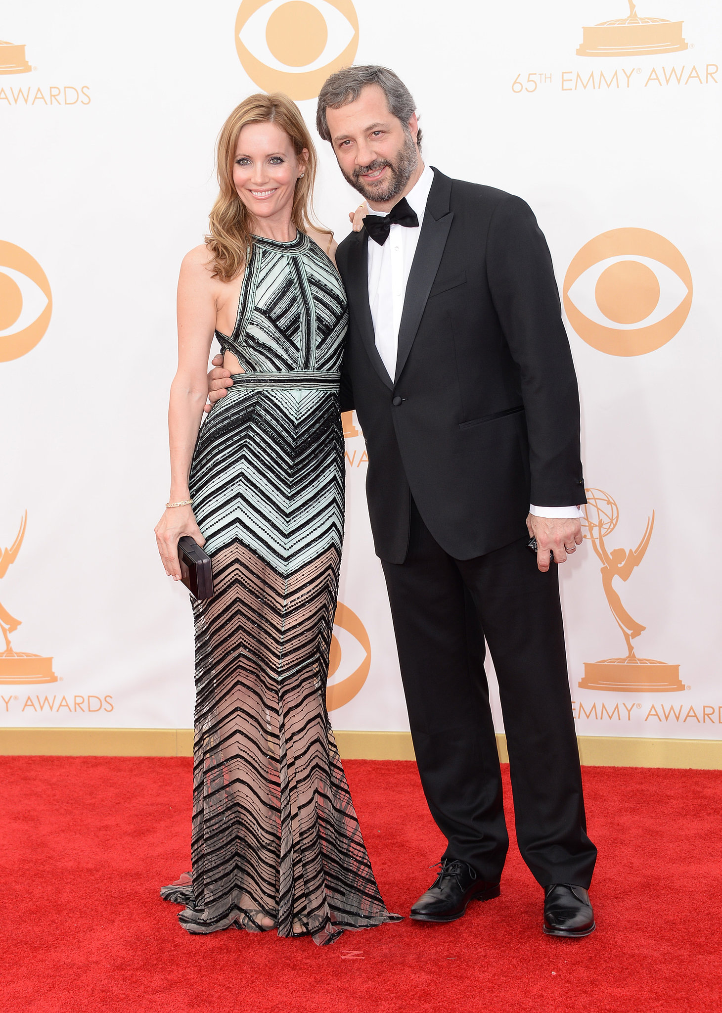 Judd Apatow and Leslie Mann posed for pictures together at the Emmys.