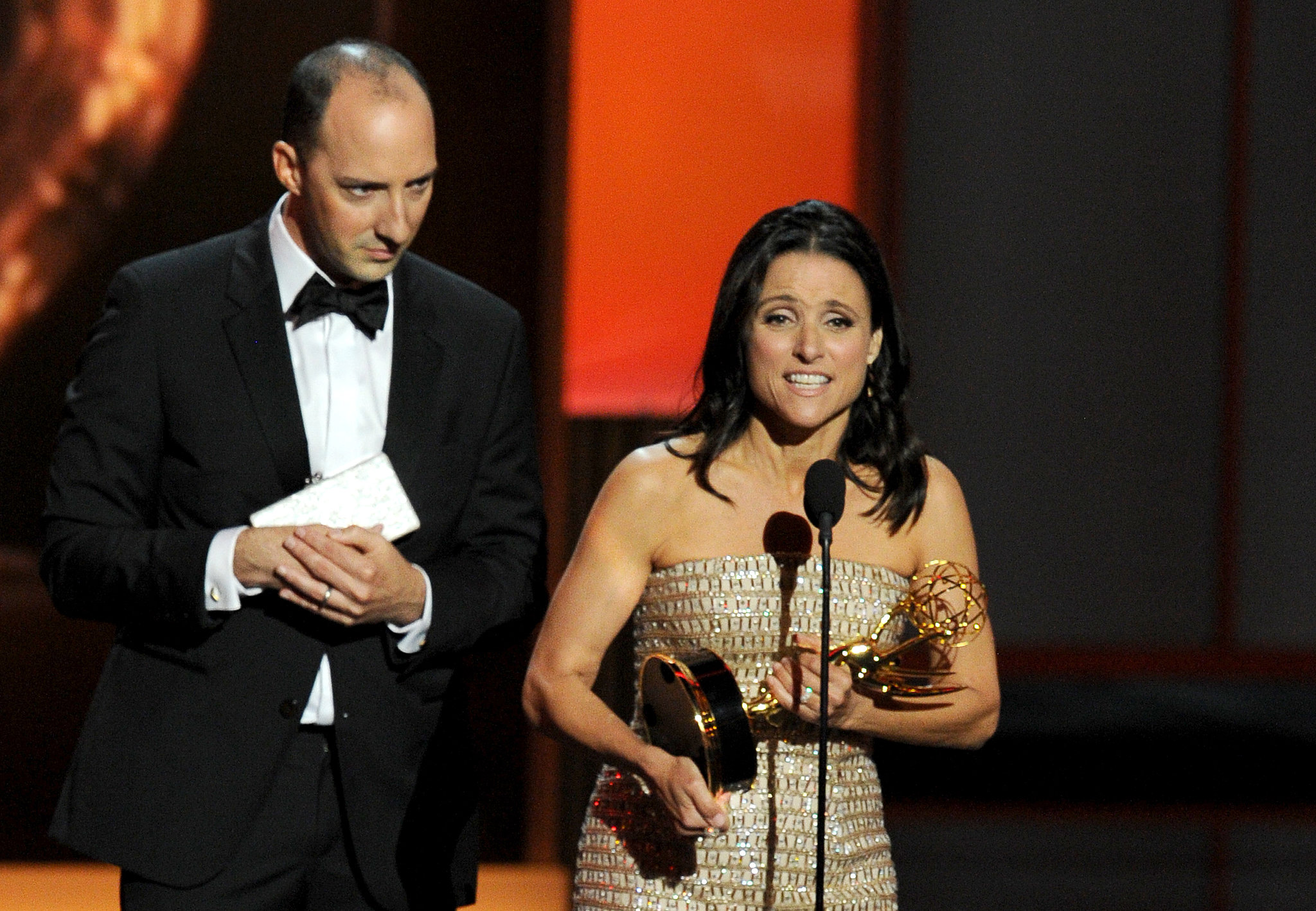 Tony Hale creeped behind Julia Louis-Dreyfus when she accepted her Emmy.