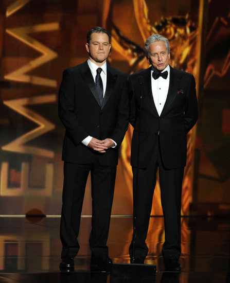 Matt Damon and Michael Douglas introduced Elton John's performance.