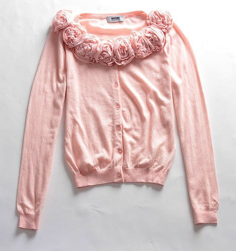 Pink Applique Flower Cardigan