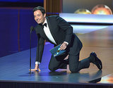 Jimmy Fallon's mic kept going up and down when he tried to present an award at the Emmys.