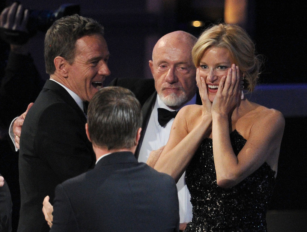 Breaking Bad's Bryan Cranston and Anna Gunn celebrated after the show won best drama series.