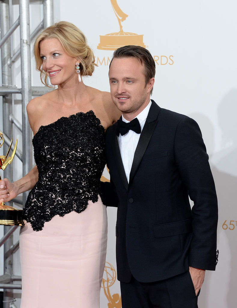 Anna Gunn and Aaron Paul posed in the press room.