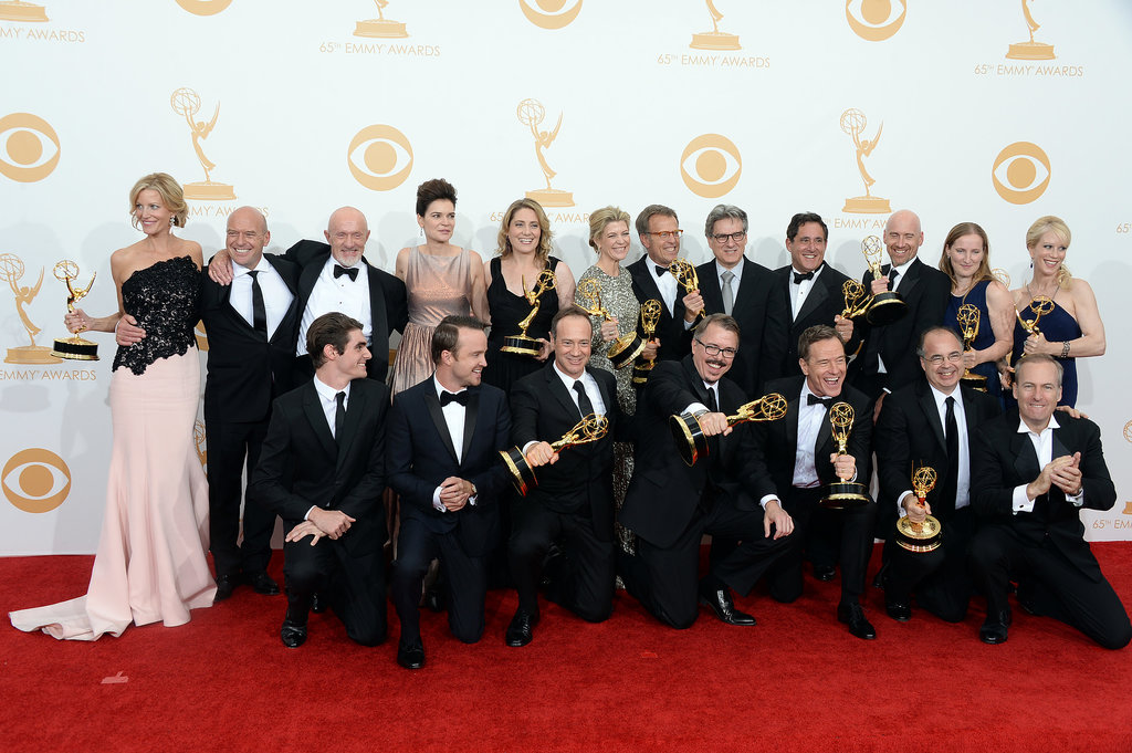 The cast and crew posed together in the press room after taking home the night's biggest honor.