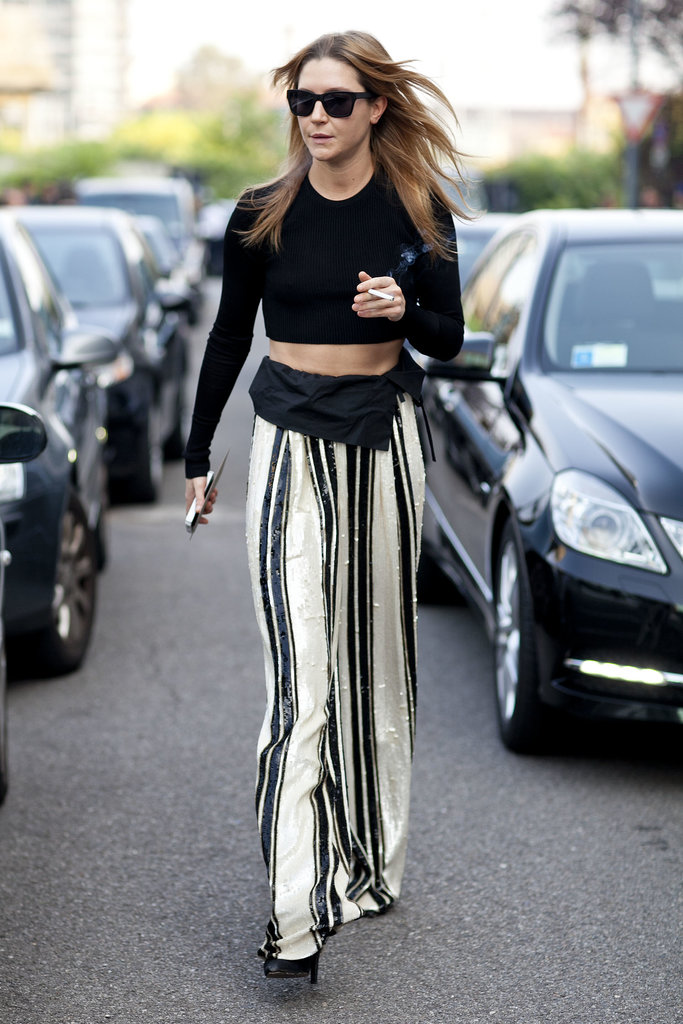 Wide-leg slacks look even better on the move.