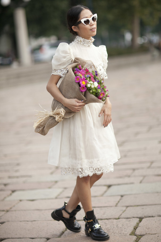Ruffles, lace, and voluminous sleeves make this girlie dress feel utterly romantic.