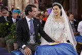 The royal couple exchanged a smile during their wedding ceremony.
