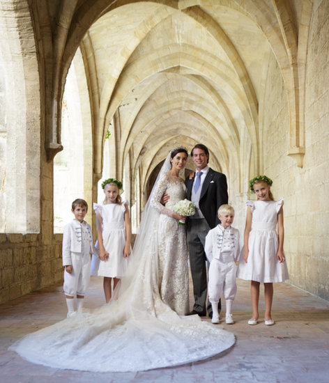 The couple posed with their flower girls and ring bearers: Prince Noah of Luxembourg, Prince Gabriel of Luxembourg, Flora Doimi de Frankopan, and Katharina Doimi de Frankopan.