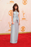 New Girl's Zooey Deschanel donned a blue gown for the Emmys.