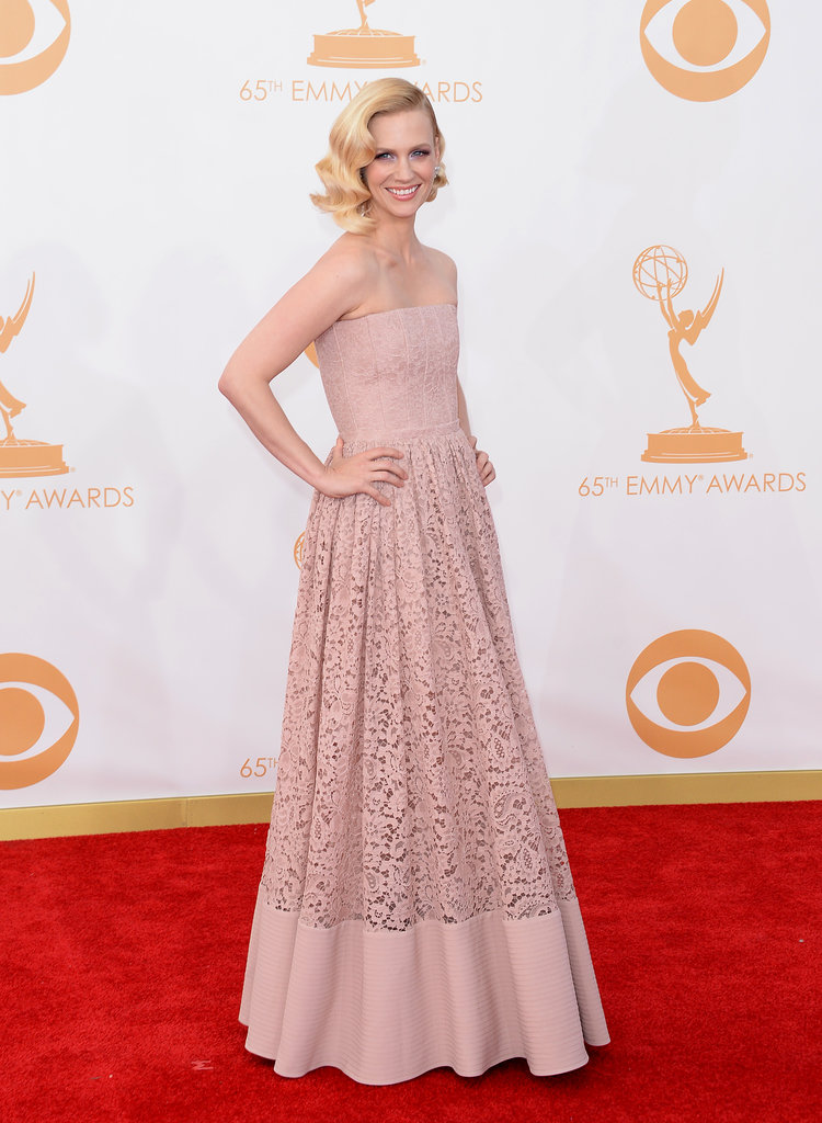 January Jones picked a pale palette for the Emmys, opting for a strapless Givenchy gown.