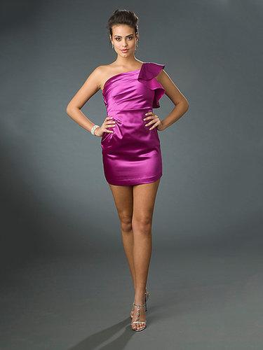 Sheath/Column One Shoulder Satin Short/Mini Sleeveless Pleats Cocktail Dresses at dressestylish