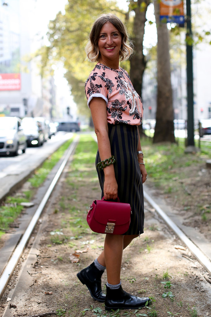 Florals and stripes doubled up for a '90s spin on ladylike.