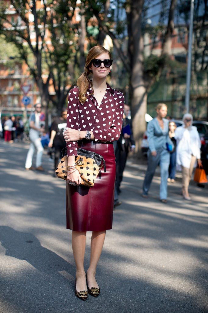 Chiara Ferragni showed off a little heart-printed Burberry.