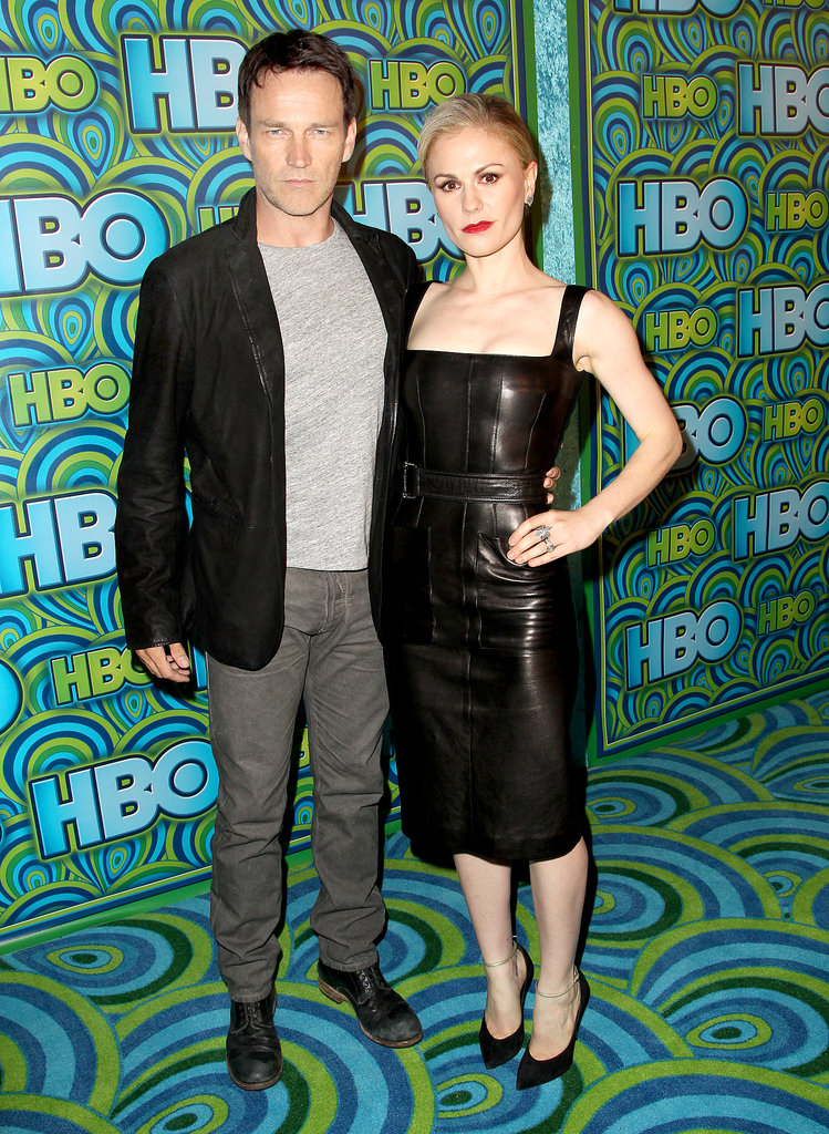 Anna Paquin smoldered (so did hubby Stephen Moyer) at the HBO afterparty in leather sheath, Casadei pumps, Cathy Waterman jewels, and a bold red lip.