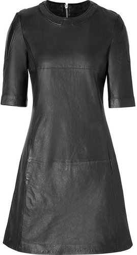 Closed Leather Dress in Black