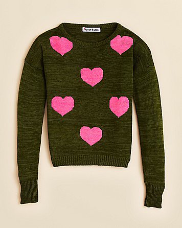 The unexpected color combo of army green and bright pink makes this sweater by Flowers by Zoe ($68) a pick that tomboys and girlie girls alike will appreciate.