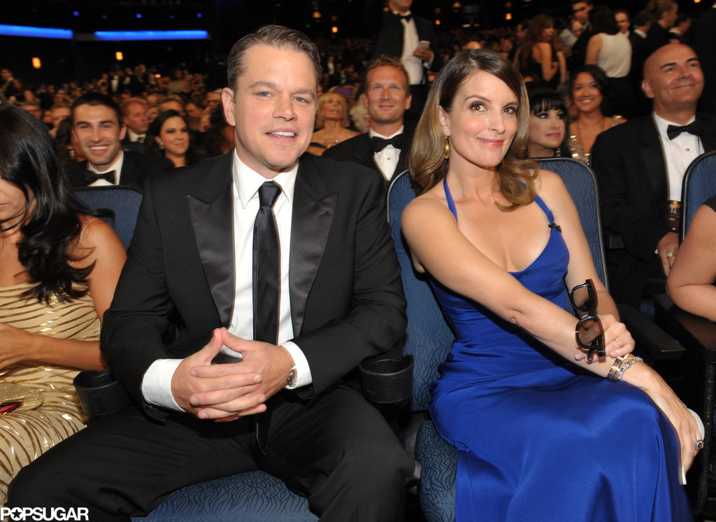 Tina Fey was happy to be seated next to Matt Damon.