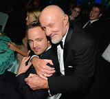 Jonathan Banks snuggled up to Aaron Paul.