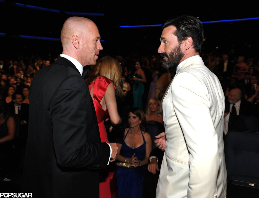 Handsome nominees Damian Lewis and Jon Hamm met up during the Emmys.