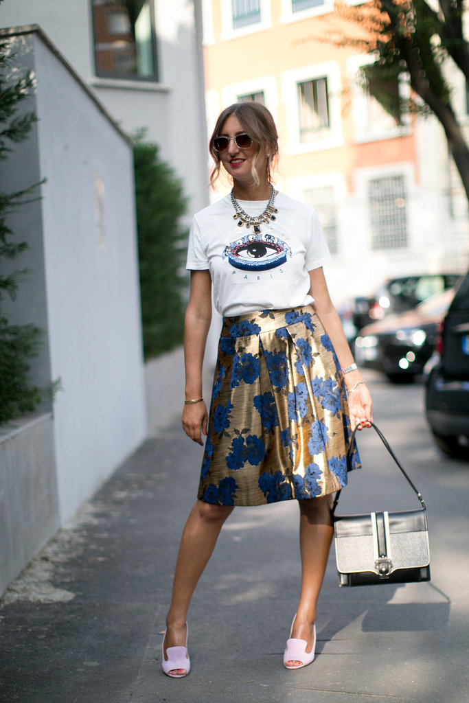 It's easy enough to incorporate the standout pieces into just about every look, like this ladylike ensemble in Milan.