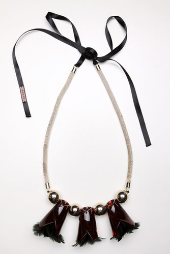 """'Marni"""" Beaded Brass Floral Necklace"""