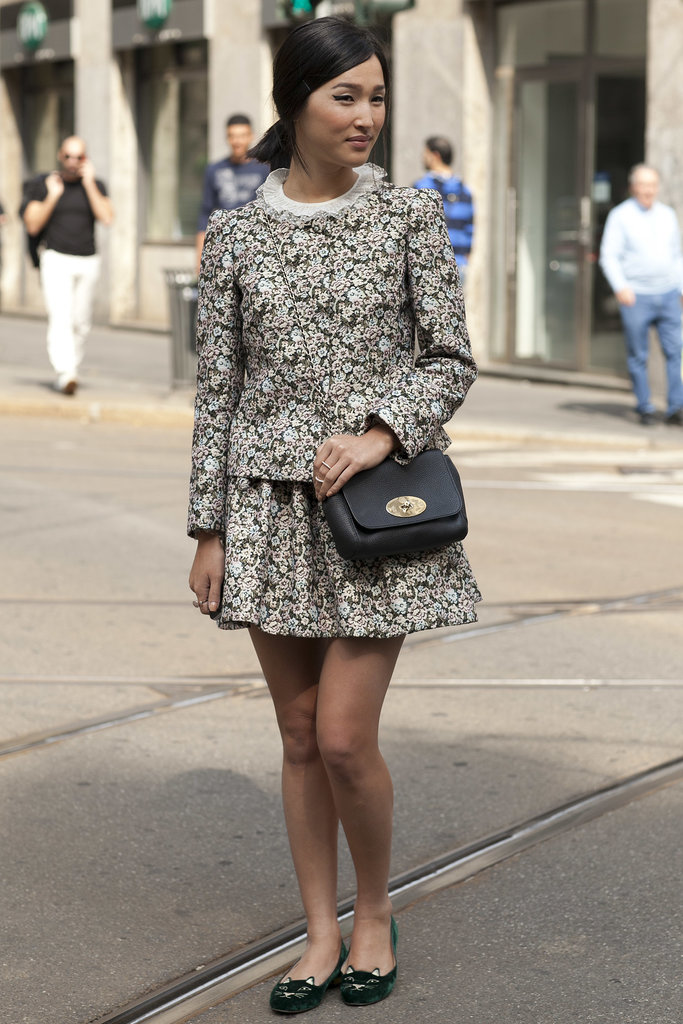 Nicole Warne was a street style darling in floral prints and cat-face slippers.