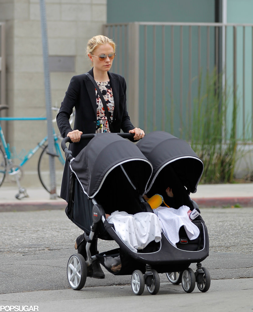 Anna Paquin took her twins, Charlie and Poppy Moyer, out for a stroll in LA on Friday.